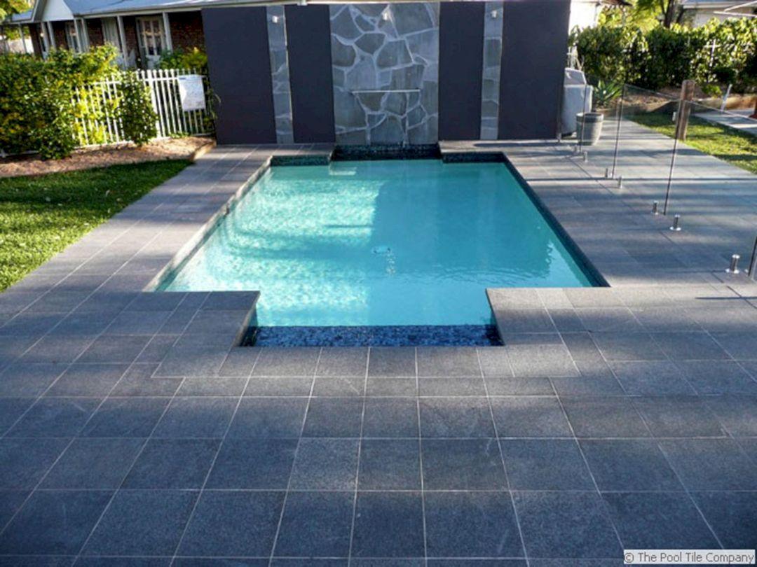 Black Granite Pool Tile Ideas