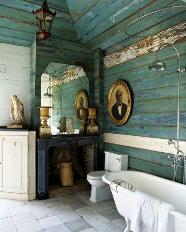 Blue Rustic Wood Bathroom