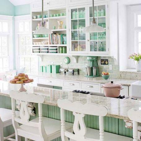 Mint Green and White Kitchen Beach Ideas