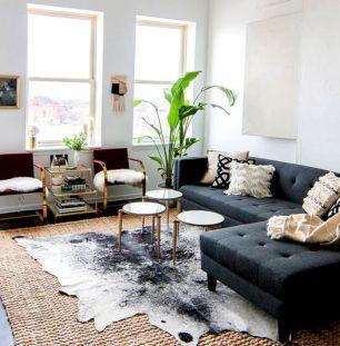 Modern Living Room with Cowhide Rug