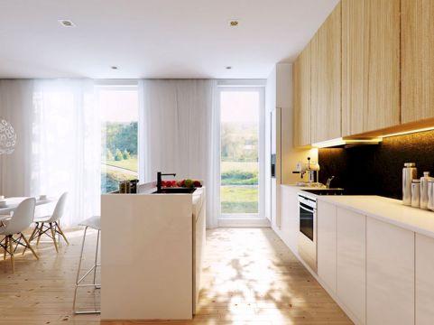 White Kitchen with Wood Design