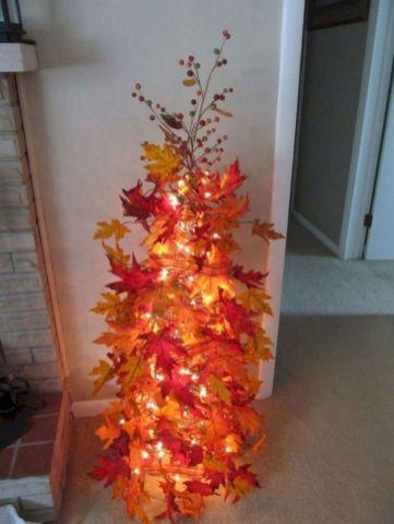 Fall Tree Using Tomato Cage Christmas Lights