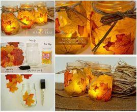 Leaf Candle Holder Mason Jars DIY