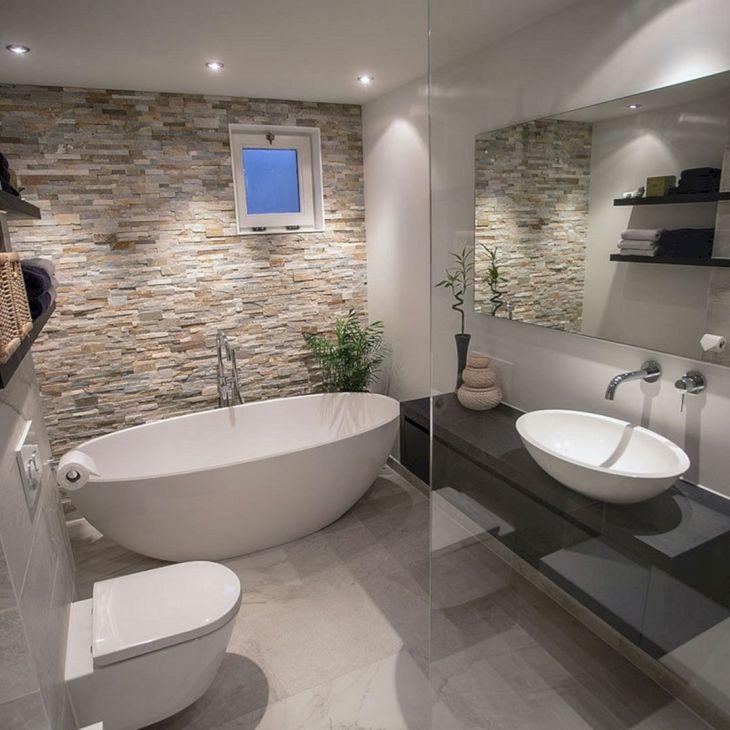 Best Rock Wall Bathroom Design