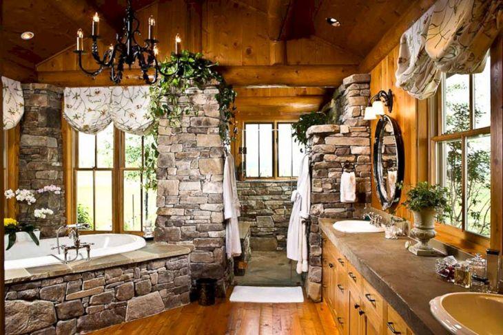 Best Rock Wall Bathroom Design Ideas