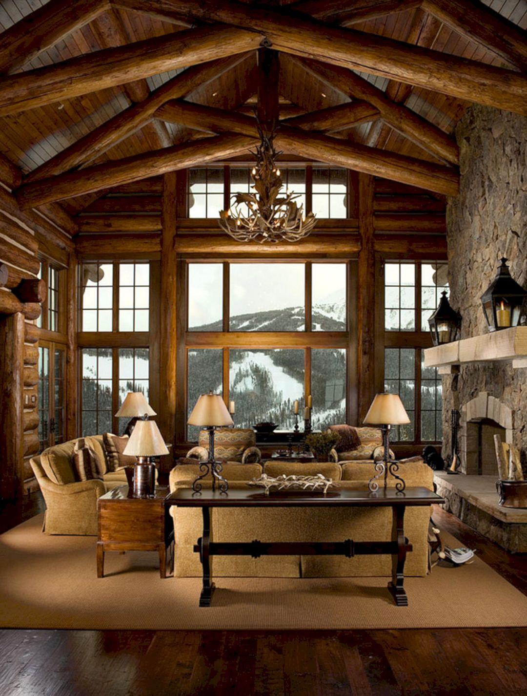 Mountain Log Cabin Living Room Decor Part 33