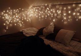 Bedroom with Christmas Lights