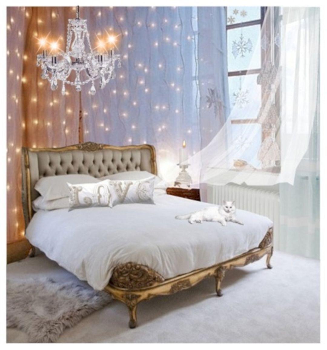 Gold Fairy Lights Bedroom