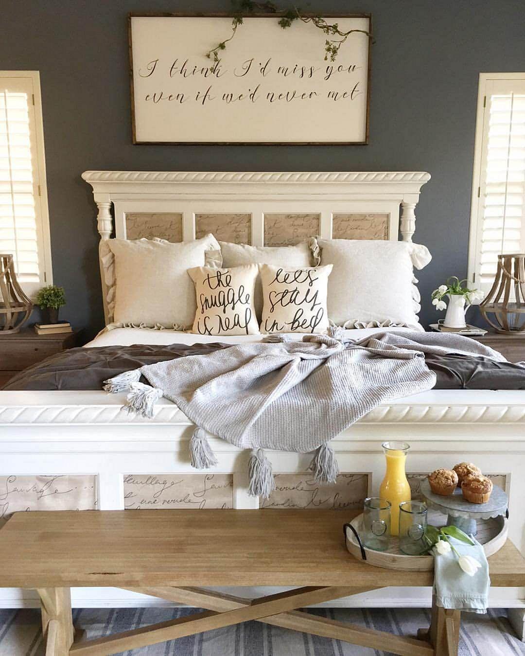 Rustic Farmhouse Style Master Bedroom Ideas 1 - DECOREDO on Master Bedroom Farmhouse Bedroom Images  id=36900