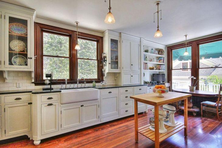 Craftsman Kitchen with White Cabinets