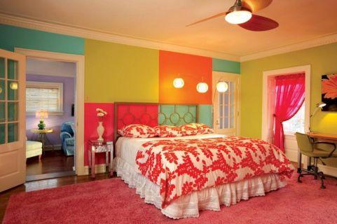 Pink and Orange Bedroom Walls for Girls