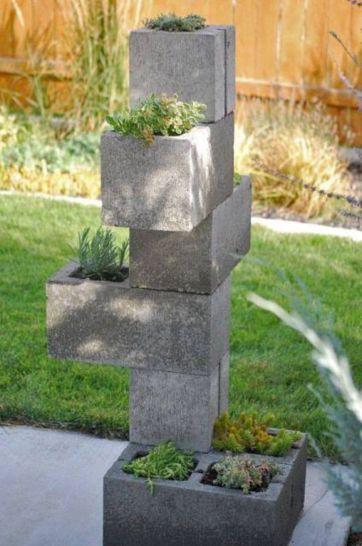 Vertical Cinder Block Planter