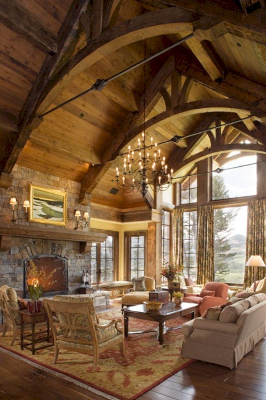 Rustic Living Room Ceiling Design 34