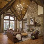 Rustic Living Room Ceiling Design 35