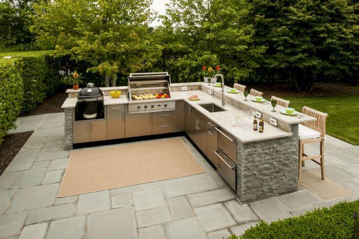 L shape Outdoor Kitchen Design