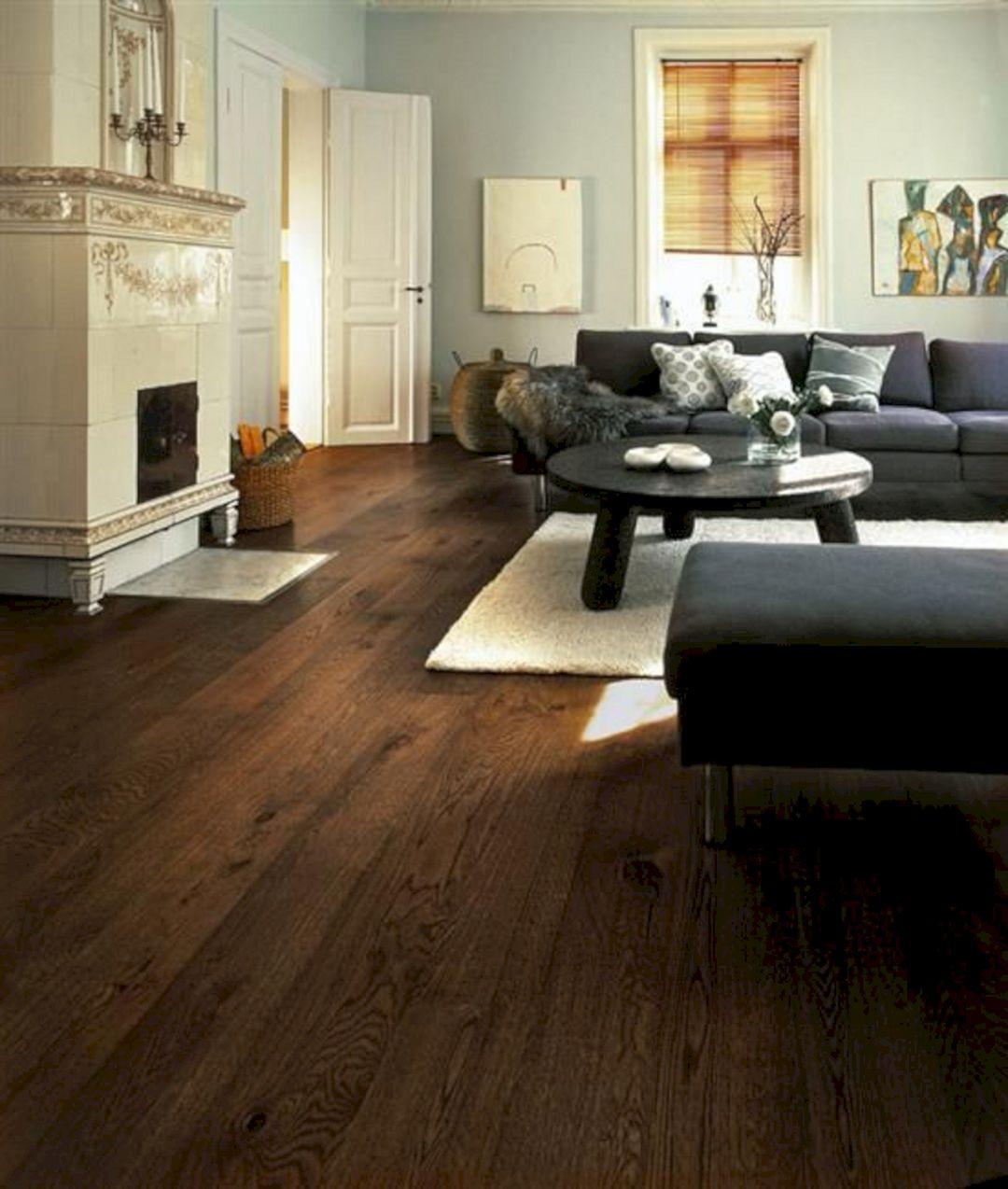Living Room With Dark Wood Floors 80