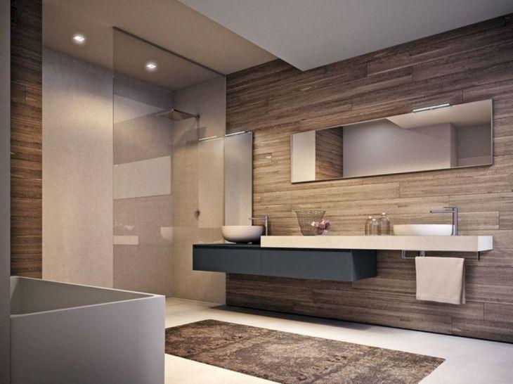 Bathroom Glass Design with Wood