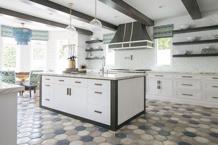 Kitchen Interior With Hexagonal Floor