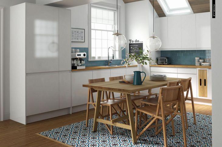 Kitchen Interior With Tartan Motif Floor