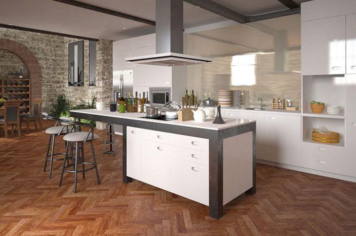 Kitchen Interiors With Herringbone Floor