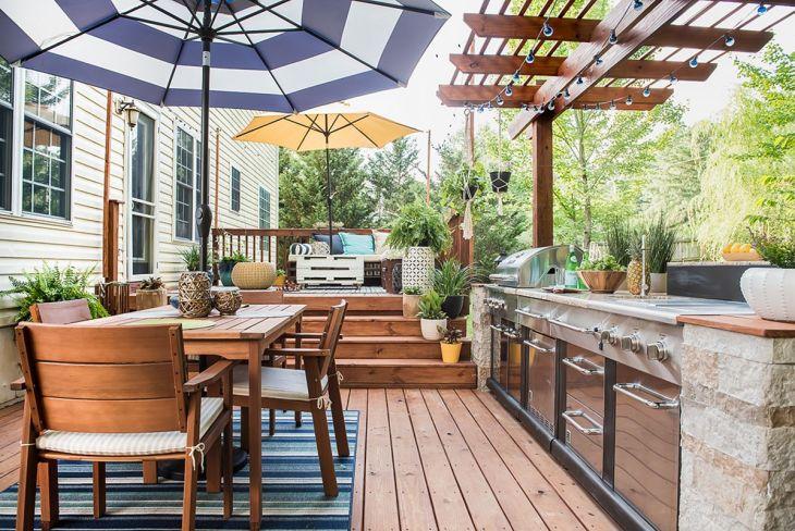 Outdoor Kitchen Along Backyard