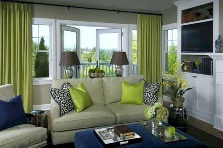 Living Room Green Curtain Ideas