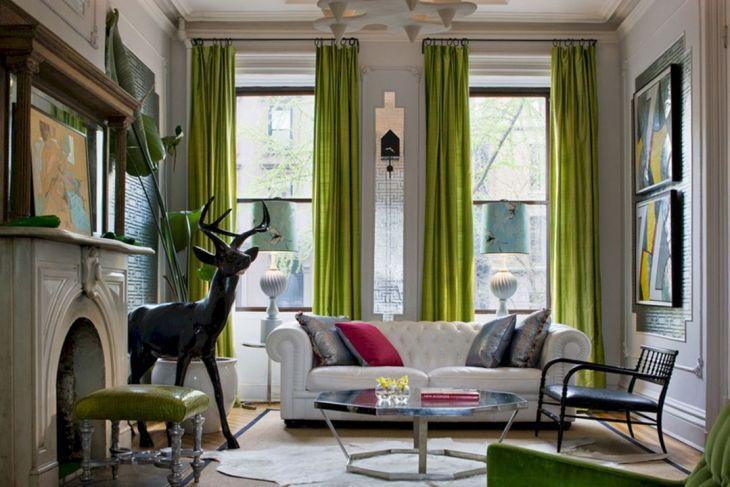 Living Room Green Curtain