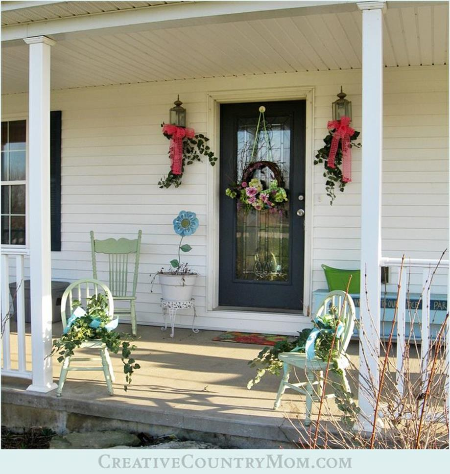 Country Front Porch Spring Decorating Ideas 19