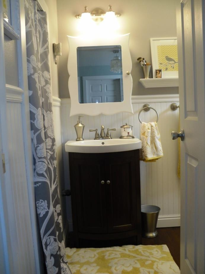 Stunning Gray Bathrooms with Accent Color Ideas 12