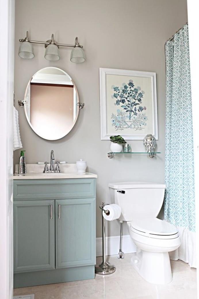 Stunning Gray Bathrooms with Accent Color Ideas 5