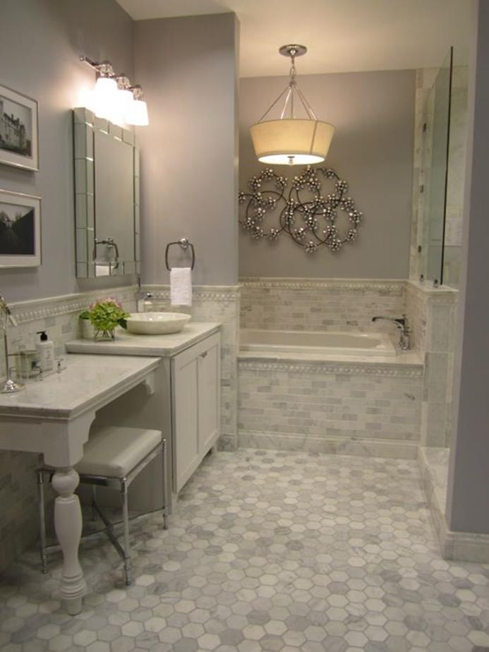 Stunning Gray Bathrooms with Accent Color Ideas 6