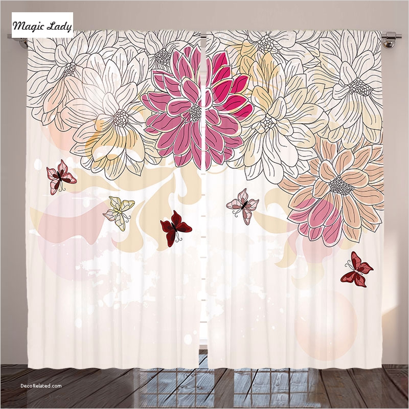 Spring Floral Bedroom Decor 52 Curtains for Girls Room Bedroom Baby Pink Floral Spring Flowers butterflies Vintage Decor Cream 2