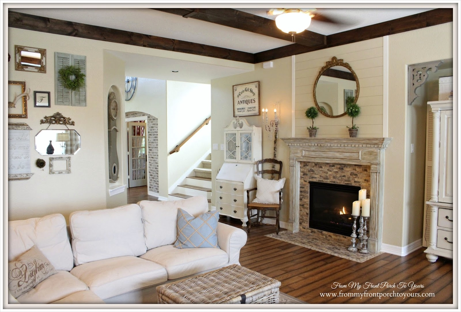 42 Cozy Country Farmhouse Living Room 22 From My Front Porch to Yours Farmhouse Living Room with Ektorp sofa 2