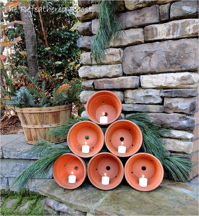 42 Beautiful Christmas Outdoor Pot Decorations Ideas 31 Clay Pot Christmas Tree 7