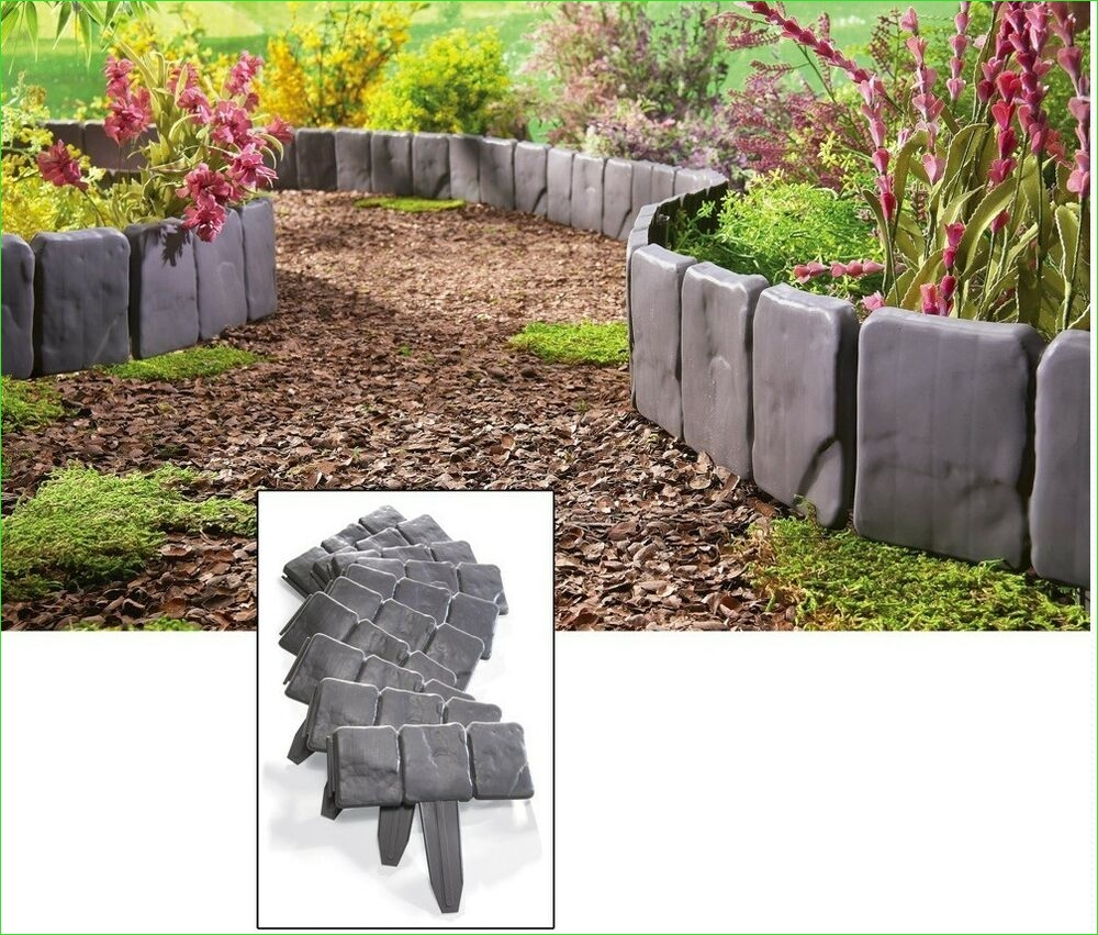 Garden Edging and Borders 63 Interlocking Faux Stone Border Edging 10 Piece Garden Borders Landscaping Look 7