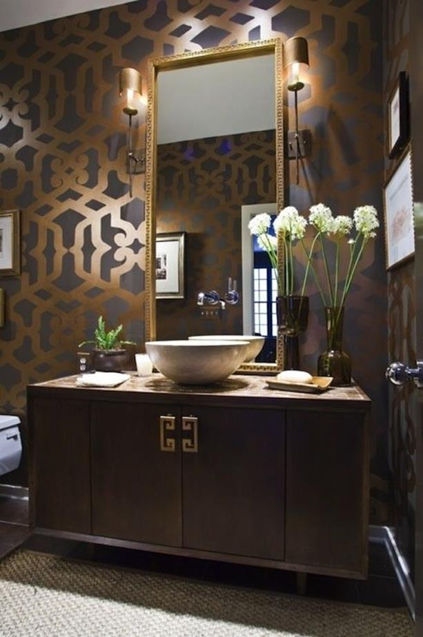 Beautiful Gold and White Bathroom 11