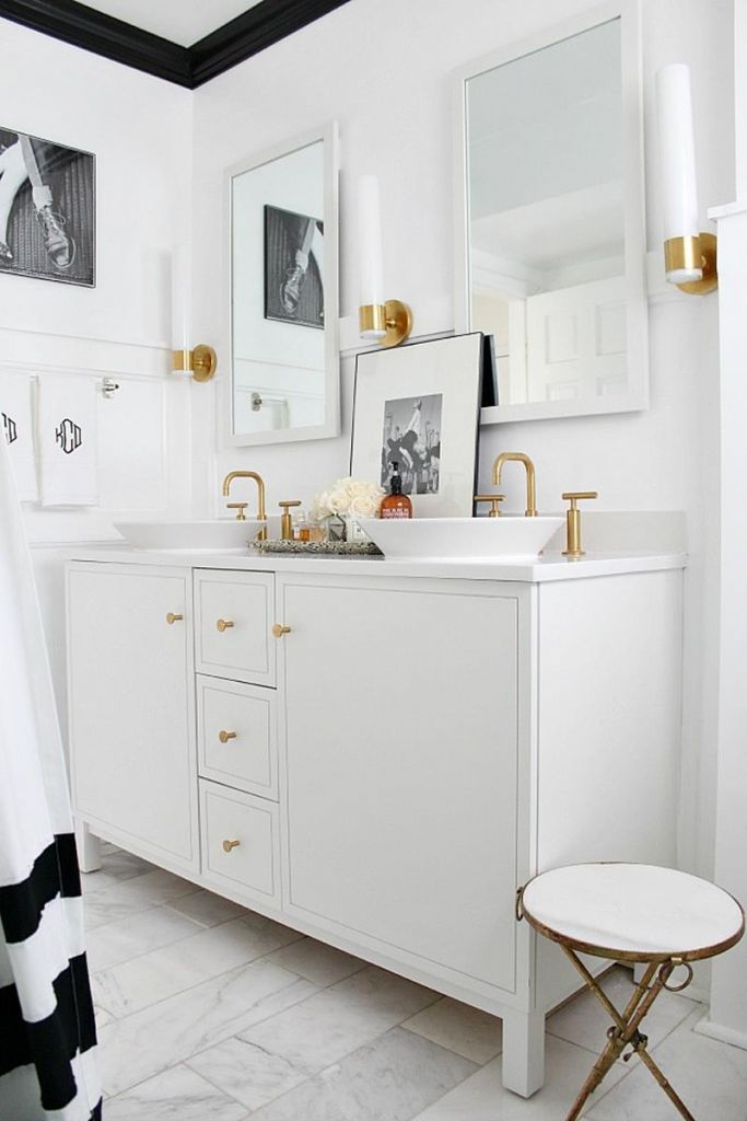 Beautiful Gold and White Bathroom 19