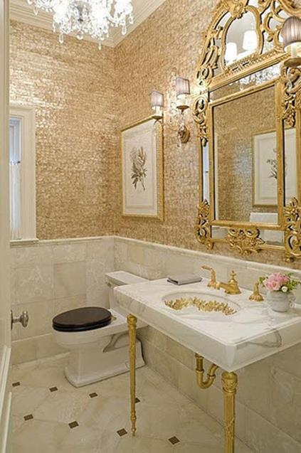 Beautiful Gold and White Bathroom 24