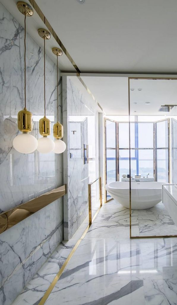 Beautiful Gold and White Bathroom 30