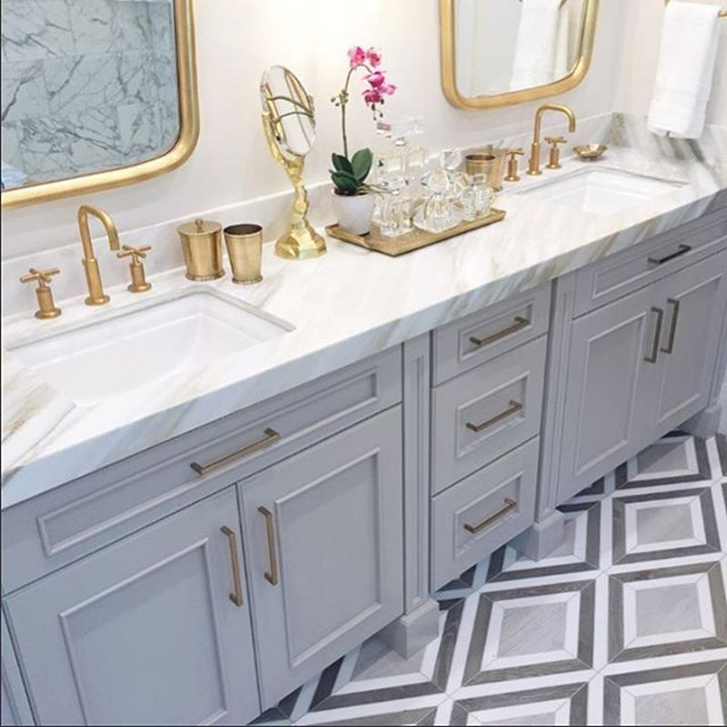 Beautiful Gold and White Bathroom 5