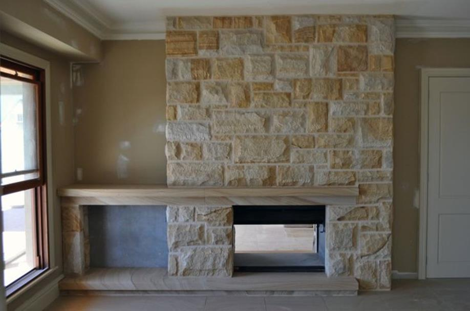 Living Room Smooth Stone Interior Walls 1