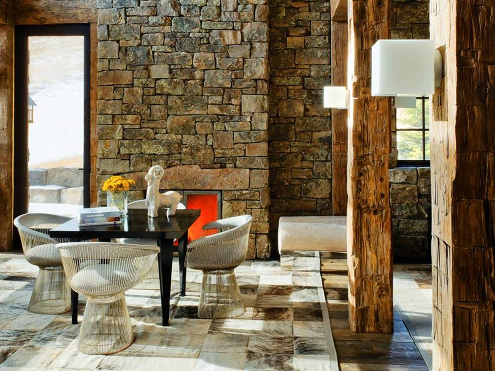 Living Room Smooth Stone Interior Walls 17