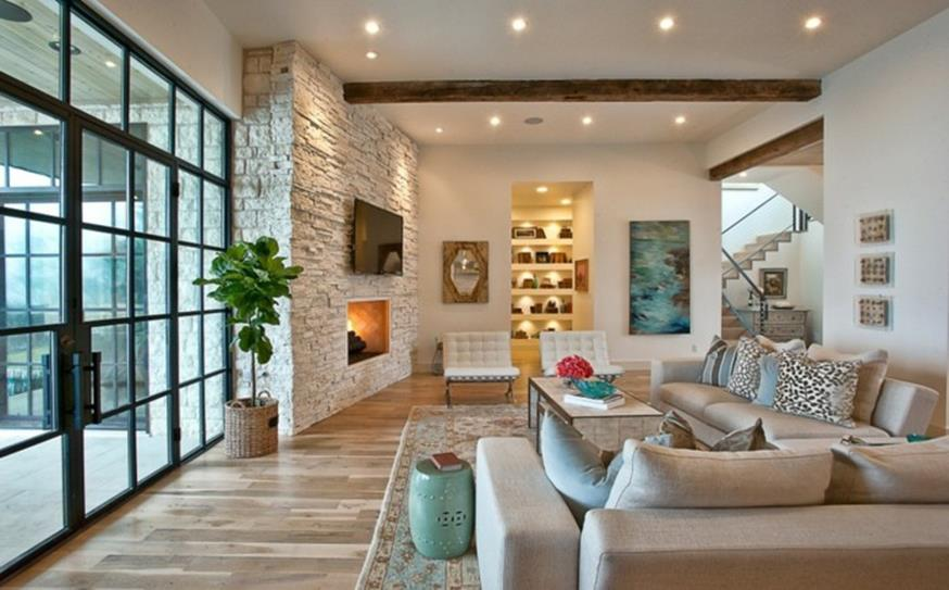 Living Room Smooth Stone Interior Walls 18