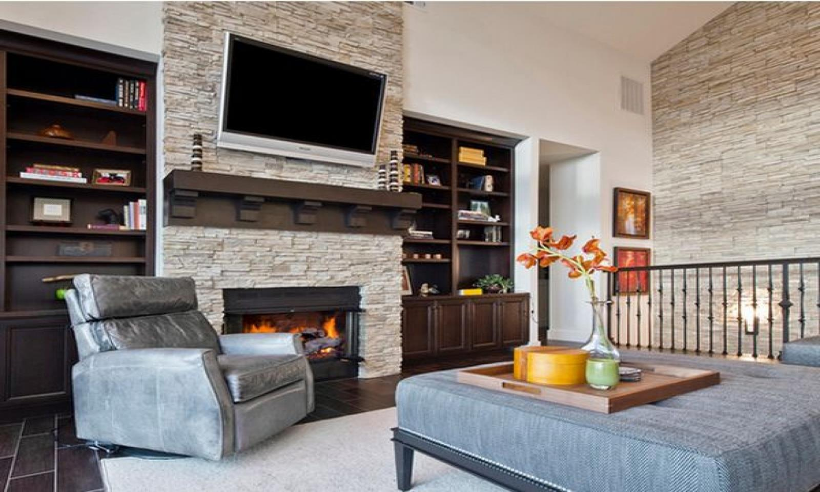 Living Room Smooth Stone Interior Walls 34