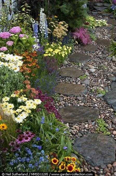Beautiful Stone Path around Flowers 11
