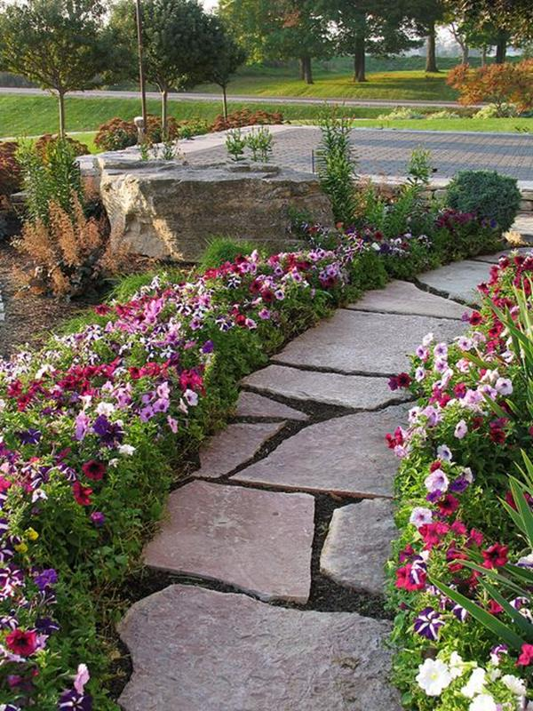 Beautiful Stone Path around Flowers 24