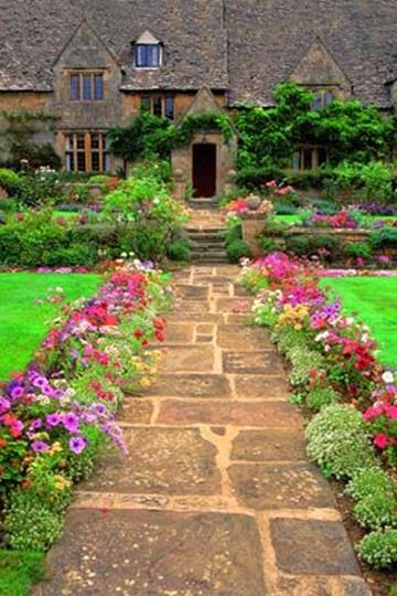 Beautiful Stone Path around Flowers 3