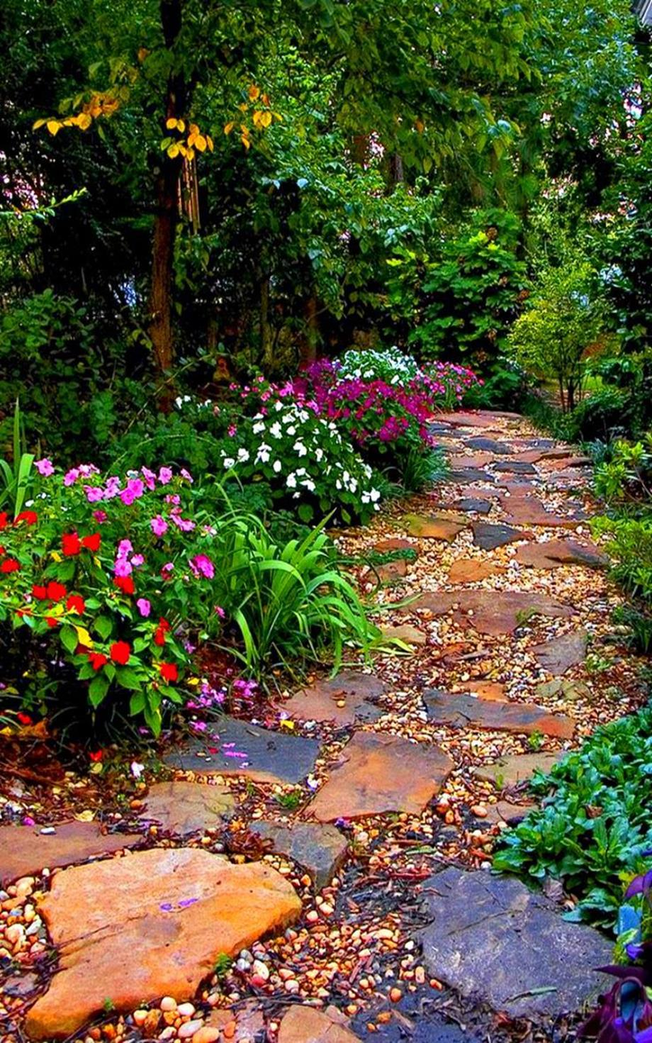 Beautiful Stone Path around Flowers 9