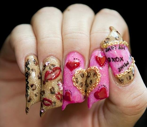 Gorgeous Valentines Day Acrylic Nail Designs 25