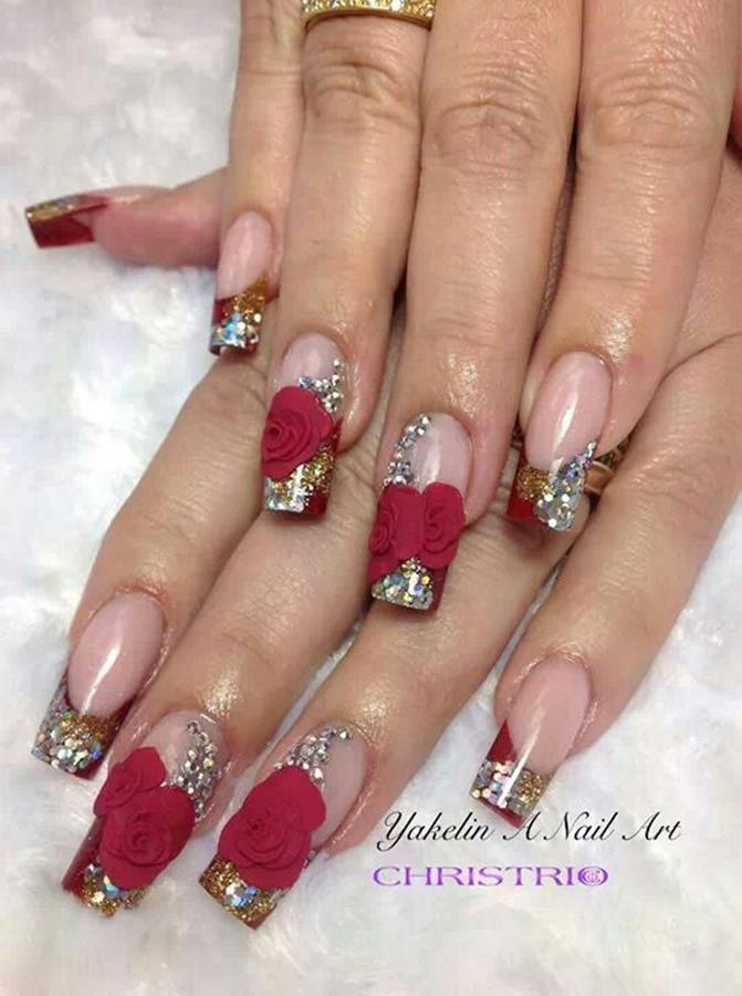 Gorgeous Valentines Day Acrylic Nail Designs 27